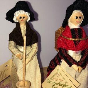 Vintage Hand made welsh women dolls